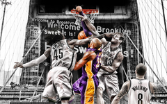 Kobe Bryant dunks on Brooklyn Wallpapers