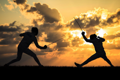 sports fencing combat foil the sword sword silhouettes outright
