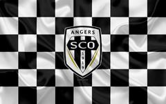 wallpapers Angers SCO 4k logo creative art white black