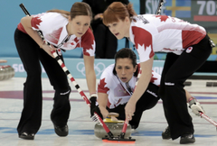 Owners of the gold medal in curling Canadian women s team in Sochi