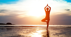 Wallpapers Yoga Sunrise Morning Beach 4K Lifestyle