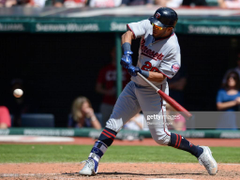 Leftfielder Eddie Rosario of Minnesota Twins bats in the eighth