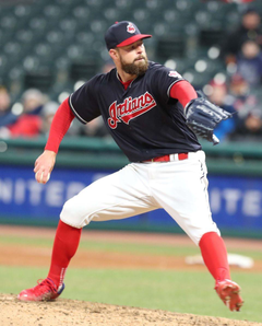 Cleveland Indians Corey Kluber pitching against the Detroit Tigers