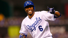 Royals Lorenzo Cain hits a ground ball keeps running scores vs
