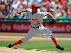 Pitcher Raisel Iglesias of the Cincinnati Reds throws a pitch during