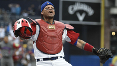 The internet wants to know how a ball got stuck to Yadier Molina s