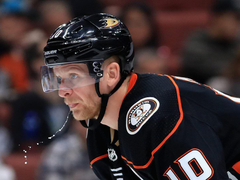 Funny photo of Corey Perry spitting