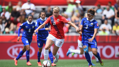 Ada Hegerberg of Norway is challenged by Natthakarn Chinwong of
