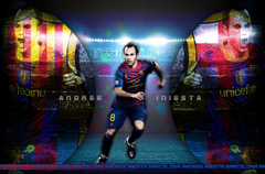 The midfielder of Barcelona Andres Iniesta wallpapers and image