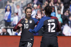 USWNT stars Carli Lloyd and Christen Press league MVP Sam Kerr