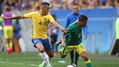 Guarding the gold Marquinhos and Rodrigo Caio leading Brazil from