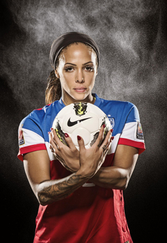 Portrait of Sydney Leroux of the US Women s Soccer team and gold