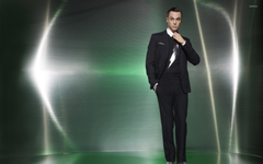 Jim Parsons in a black suit and a hand in his pocket wallpapers