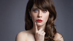 Zooey Deschanel Wallpapers Beautiful Girl Red Lips Face Close Up