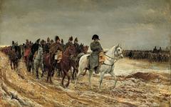 Painting Napoleon Bonaparte in Russia Winter Retreat Moscow