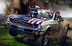Wallpapers the explosion gun Ford Mustang art Ronald Reagan