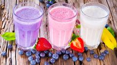 Summer drinks milkshake colorful blueberries strawberries