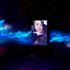 girl floating in space by the way sorry if my editing is bad i tried