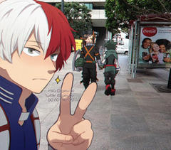 Shoto taking a weird picture of them