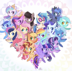Mlp Ponies in a heart
