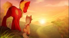 Mlp Apple jack and Big Mac watching the sunrise