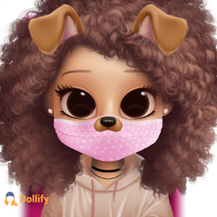 this is wat i kinda look like i have curly hair and i have a pink mask