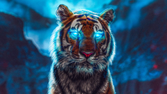Glowing abstract tiger