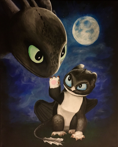 Painting of Toothless and his dragonet