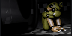 Me hiding in a corner because I got the golden Freddy jumpscare