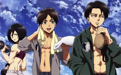Levi Eren and Mikasa