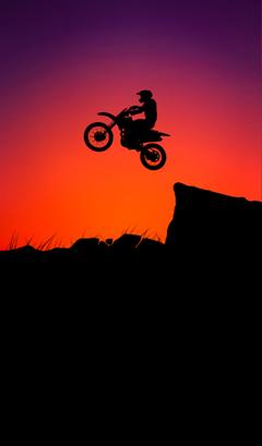 Silhouette Sunset Motor bike Jump Wallpaper for Mobile