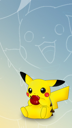 Pikachu likes eating apples