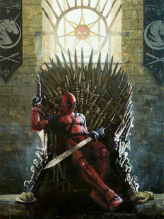 deadpool in his chair made of swords