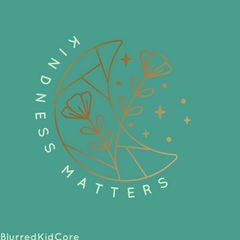 Kindness Matters gold moon and flowers teal turquoise backround make by BlurredKidCore