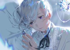 2500x1777 Anime Boy Earrings White Hair Shoujo