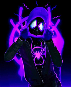 Neon Miles Morales sign AKA Spiderman