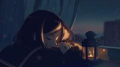 anime night sad girl with a lamp