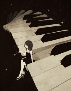 Anime Girl Sitting On Piano