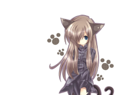 Catgirl Animal ears Anime Long hair White