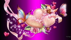 Artistic Heart Artistic Abstract Pink Butterfly Sparkles Flower Wallpapers
