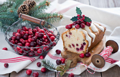 Wallpapers winter branches berries food spruce red tree basket Christmas bumps muffin dessert cakes holidays New Year cupcake image for desktop section