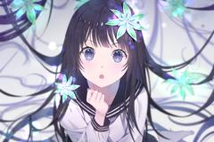 4500x3000 Anime Girl Black Hair School Uniform Curious