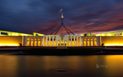 Parliament House at night in Canberra Australian Capital Territory