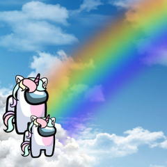 Among Us Unicorns Looking at a Rainbow
