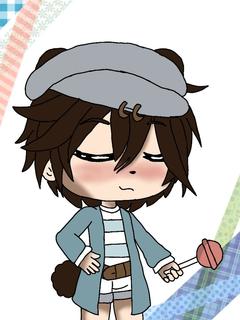 Cute gacha boy holding lollipop