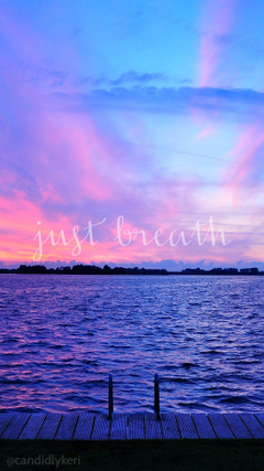 Just Breathe sunset ocean view pink and purple sky wallpapers
