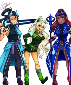 Leif Rhys and Pierce genderbent Honestly this is kinda cool