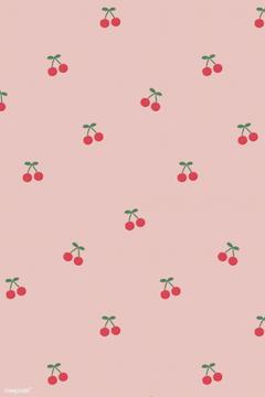 premium vector of Red hand drawn cherry seamless pattern