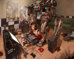 women video games robots cyberpunk graphics tablets soft shading