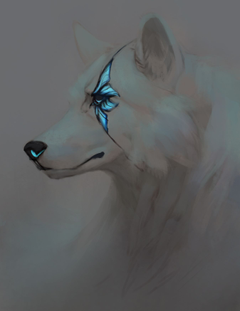 White Blue Scar Angel Wolf